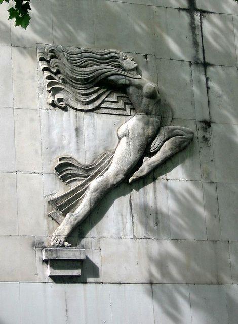 Art deco female bas relief, Glavna Pošta, Podgorica, Montenegro ...