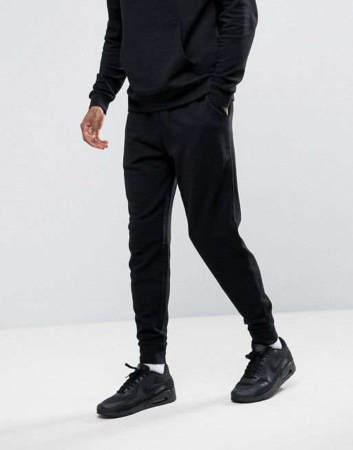 725c66cae DESIGN tapered sweatpants in black | Fits | Tapered sweatpants, Slim ...