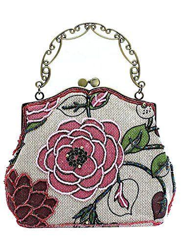 ILISHOP Women's Vintage Luxury Printing Beaded Women Handbag Evening Bag (Pink)