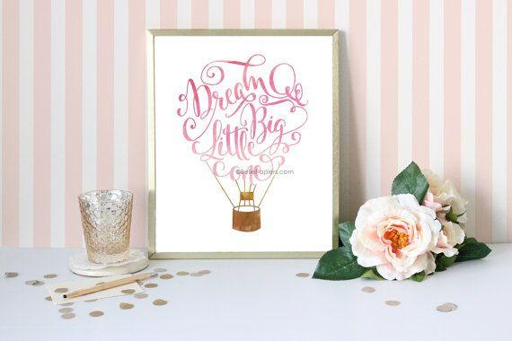 Watercolor Calligraphy Print Dream Big Little One by BellePapiers