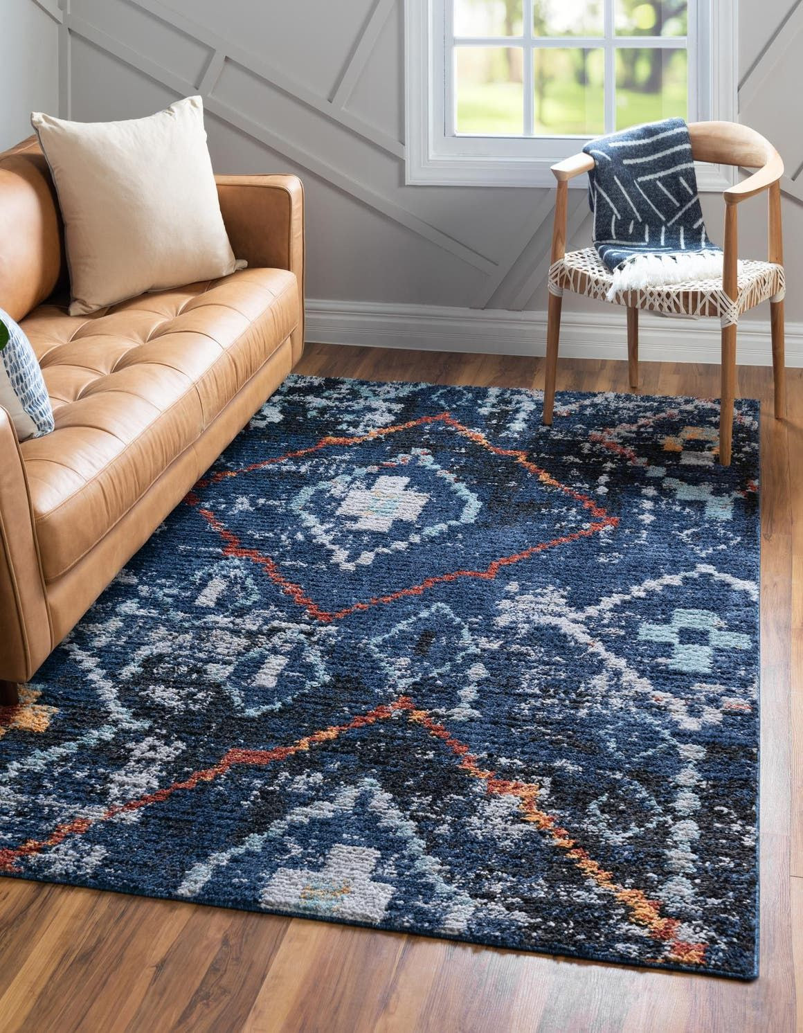 Morocco Navy Blue Vintage 9x12 Large Area Rug In 2020 Navy Blue Rug Blue Rug Living Light Blue Living Room