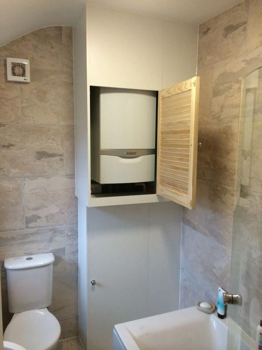 Built In Boiler Cupboard And Storage Unit Bathroomcupboards Bathroomcupboards Boiler Built Cupboar In 2020 Small Bathroom Small Bathroom Storage Tiny Laundry Rooms
