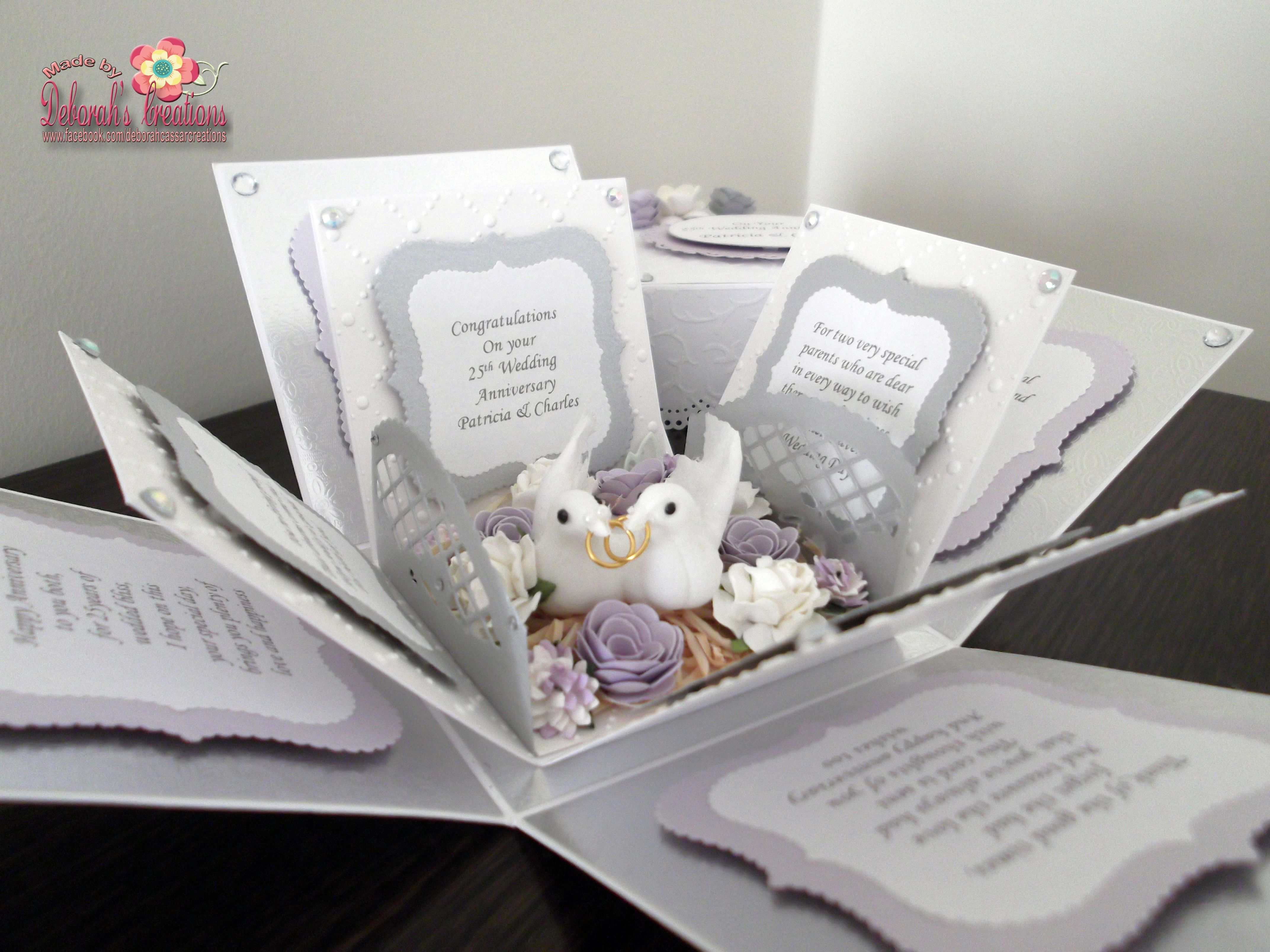 25th Silver Wedding Anniversary Exploding Box Card | Exploding Box ...