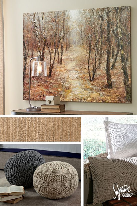 #AshleyFurniture #WallArt - Combining neutrals is easy when you start with a great piece of wall art. Add in rugs, poufs and pillows made with similar colors from the wall art to create a unique and cohesive look. Featuring the Ogin Wall Art piece.