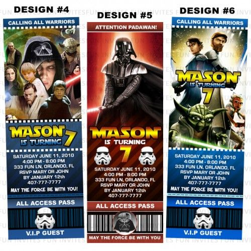 Star Wars Jedi Birthday Party Ticket Invitations - Printable - party ticket invitations