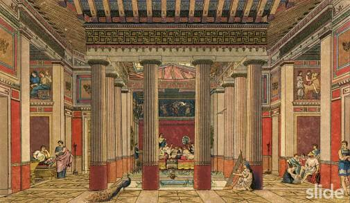 This is an artistic representation of what an ancient Greek interior looked  like. There are eight Doric Greek Orders with two rows of Greek Key motifs  in ...
