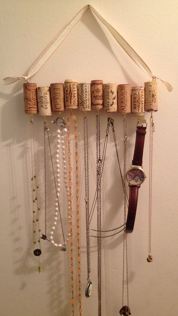 Adorable Way To Hang Jewelry This Rack Made From Wine Corks Comes With An Adjustable Ribbon Perfect For H Jewelry Organizer Diy Cork Necklace Wine Cork Crafts