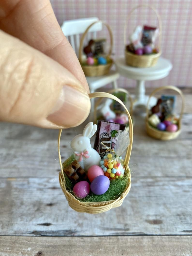 Miniature Dollhouse FAIRY GARDEN Accessories ~ EASTER Egg Coloring Set of 6 NEW