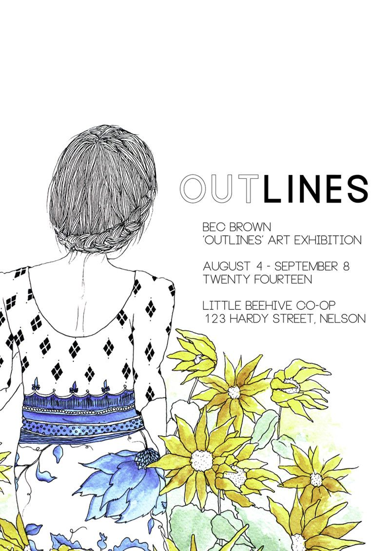 Bec Brown 'OUTLINES' Art Exhibition poster
