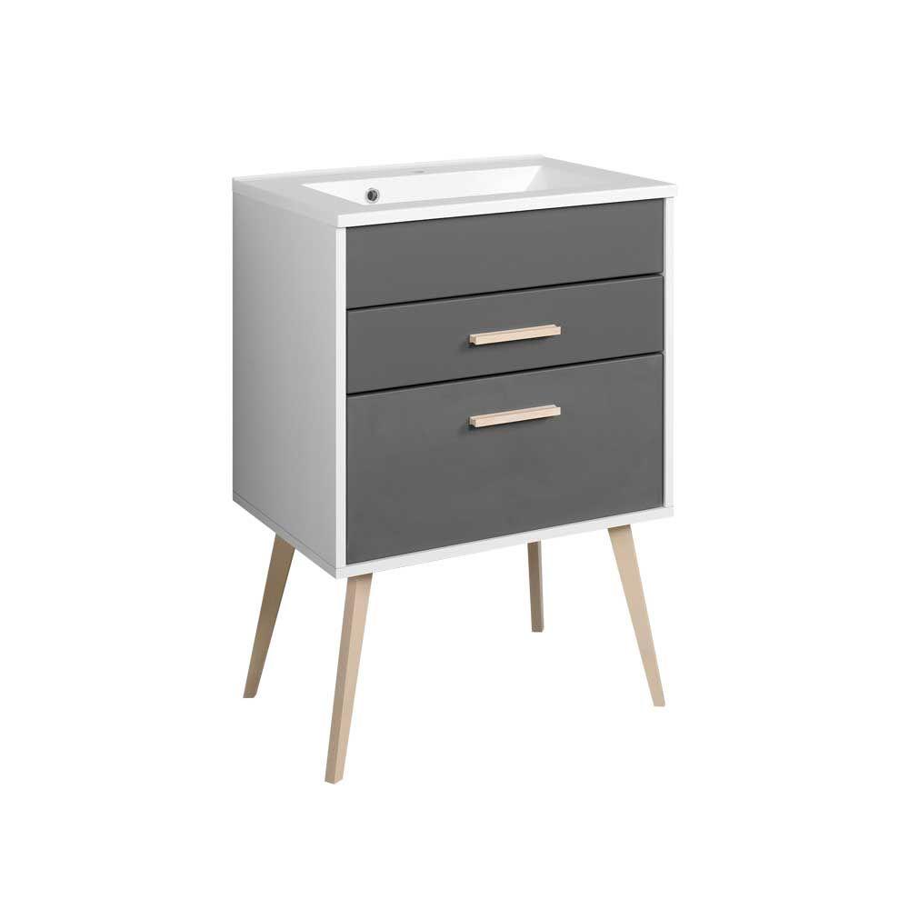 Badezimmer Waschbeckenschrank In Weiß Anthrazit Retro Design Jetzt  Bestellen Unter: Https://moebel