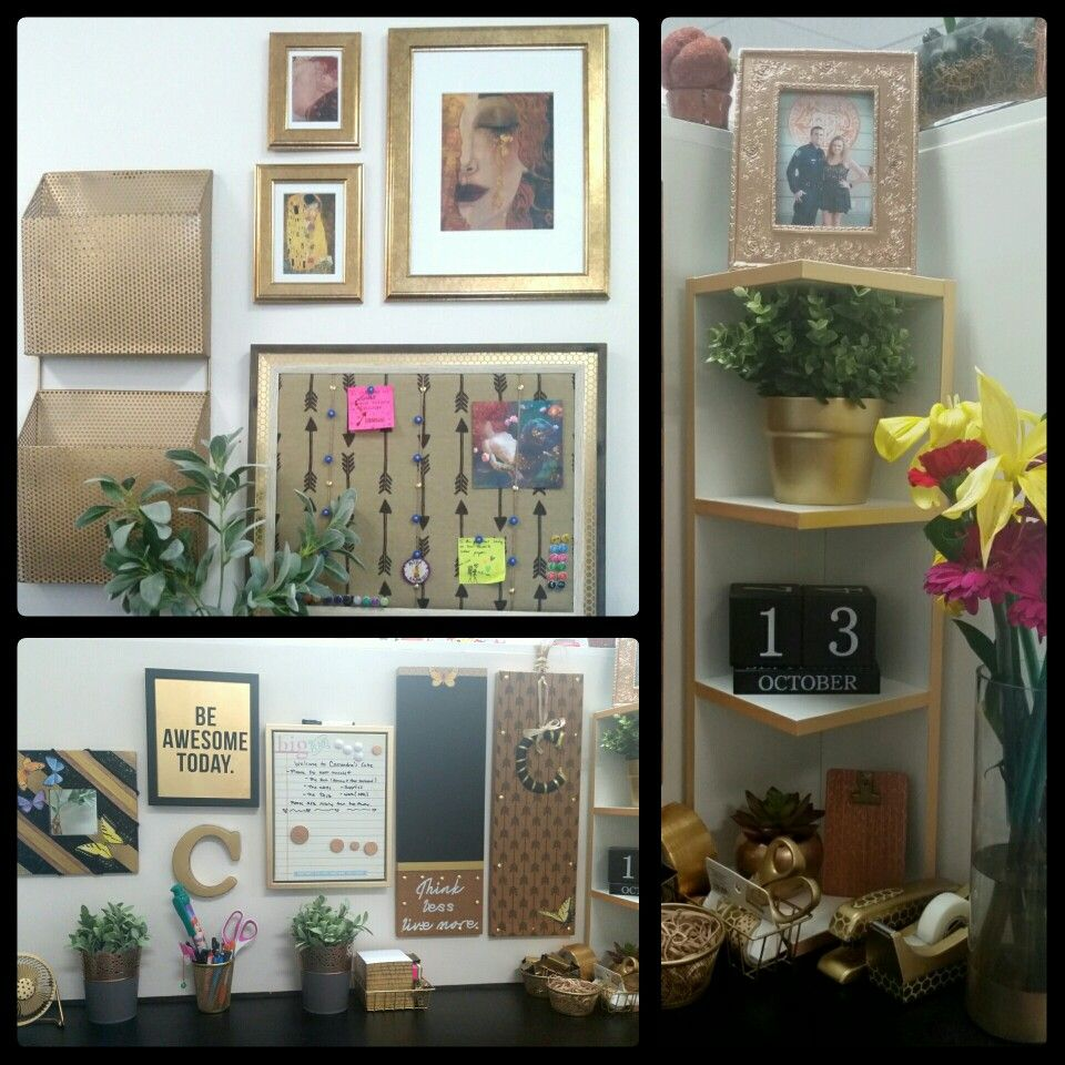 Cubicle decor chic and cheap desk collage gold, black, white and ...