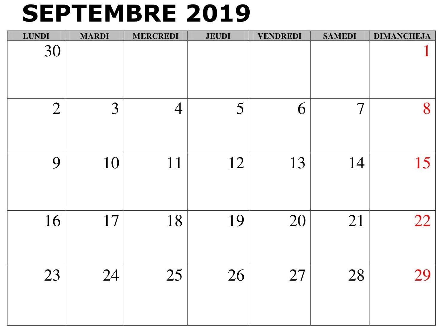 Template Calendrier 2019.Calendrier Septembre 2019 Word Blank Calendar Template