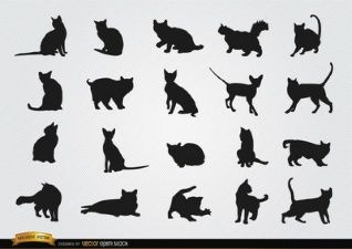 Silhouetten Vektoren Fotos Und Psd Dateien Kostenloser Download Katzen Silhouette Kurzhaar Katzen Silhouette