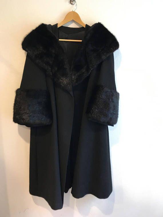 Black wool swing coat plus size