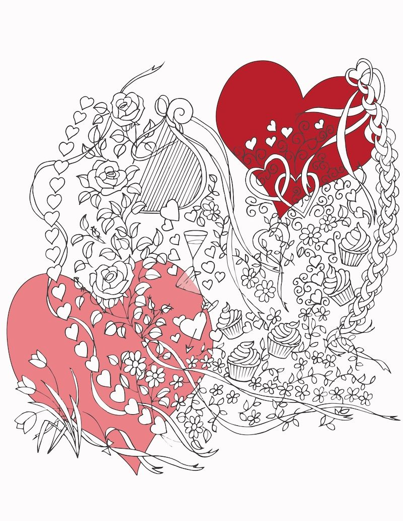 Colour book art - Valentine Coloring Book Art Serenity Adult Coloring