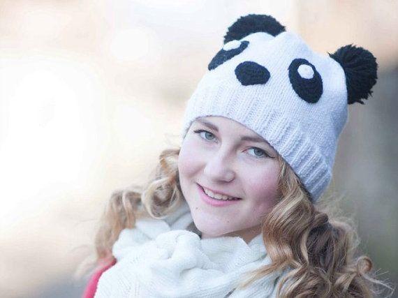06ced6810 Panda knit beanie hat animal hand knit beanie Toddler hat Teen girl ...