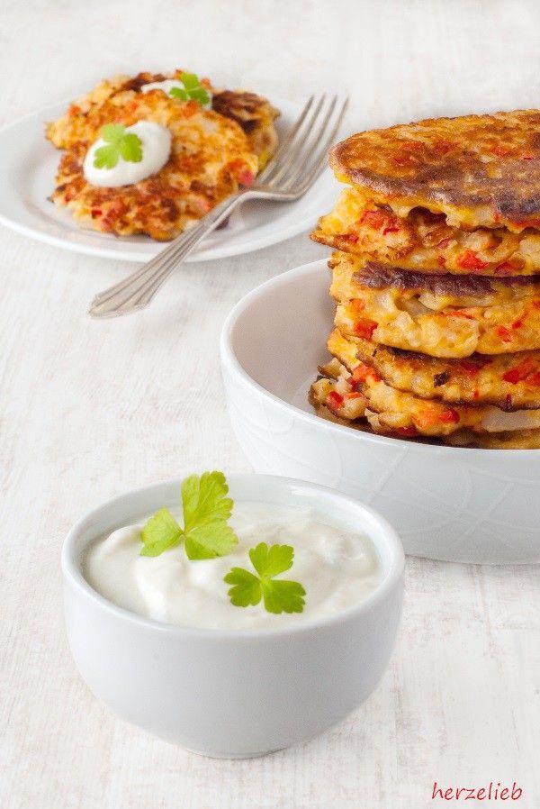 Blumenkohl Puffer Mit Joghurt Dip Rezept Essen Blumenkohl