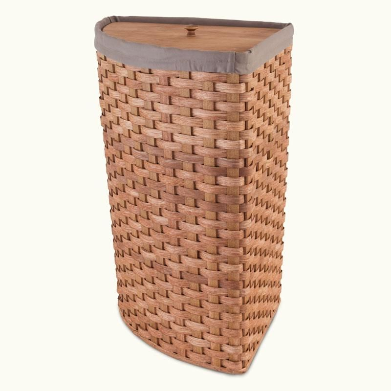 Hand Sewn Cloth Liner For Large Corner Hamper Basket Beige
