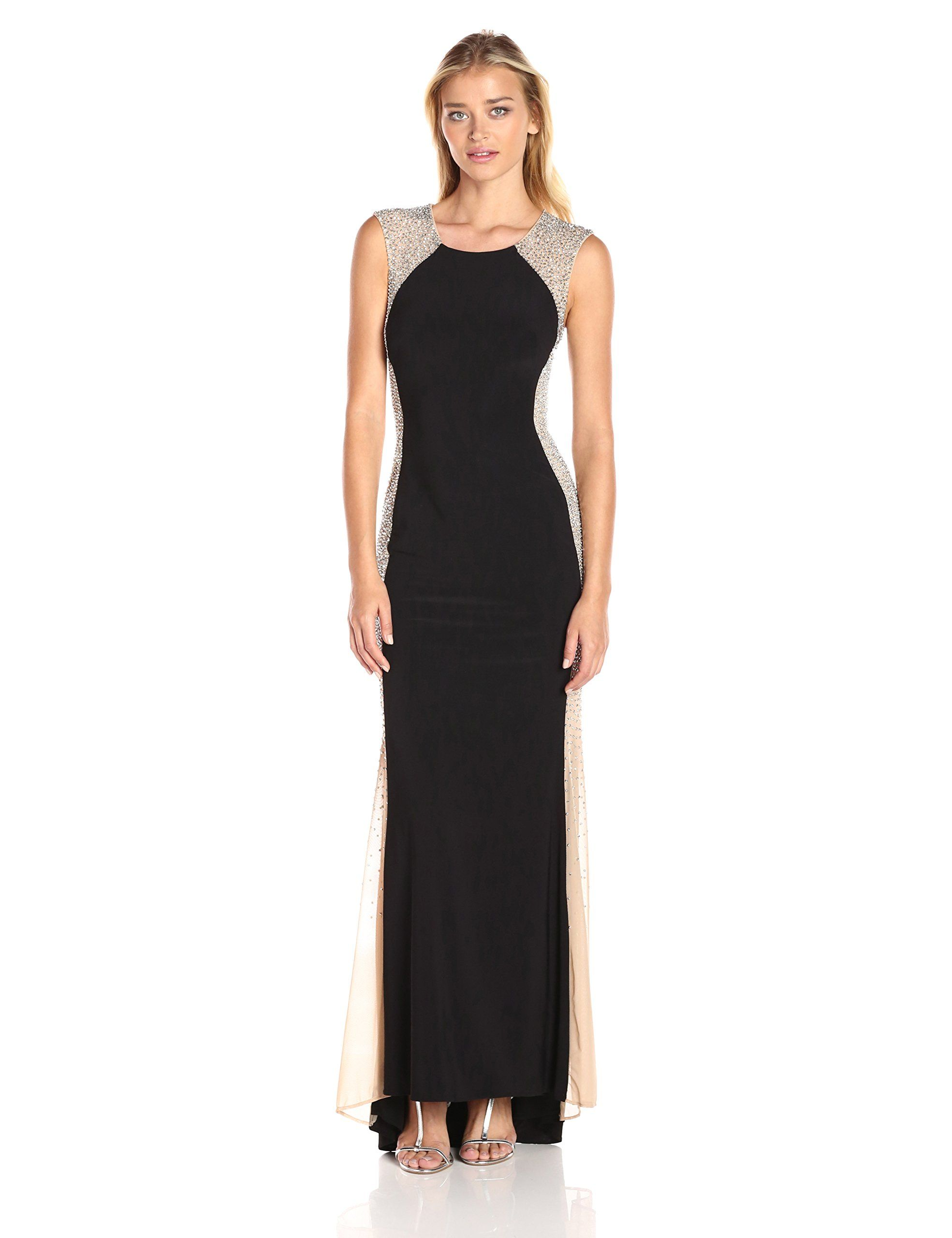 Xscape womenus long ity dress with caviar bead sides design styles