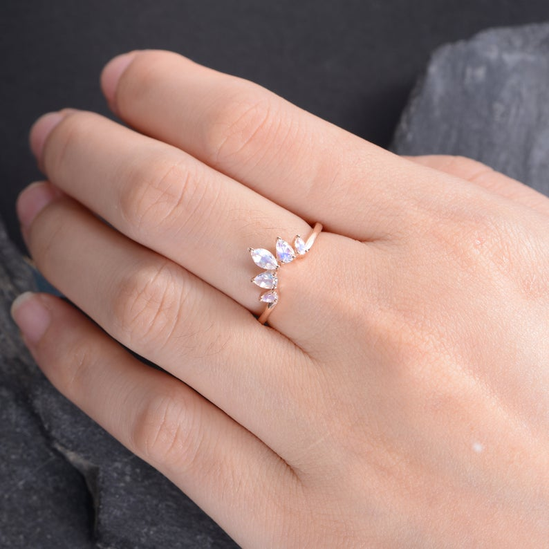 Moonstone Wedding Band Rose Gold Pear Shaped Curved Ring