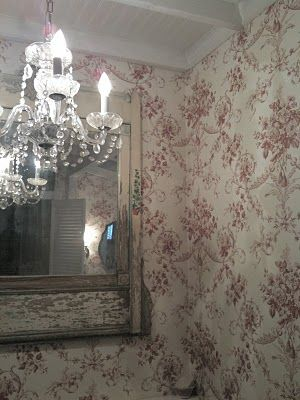Love the wallpaper and chandelier
