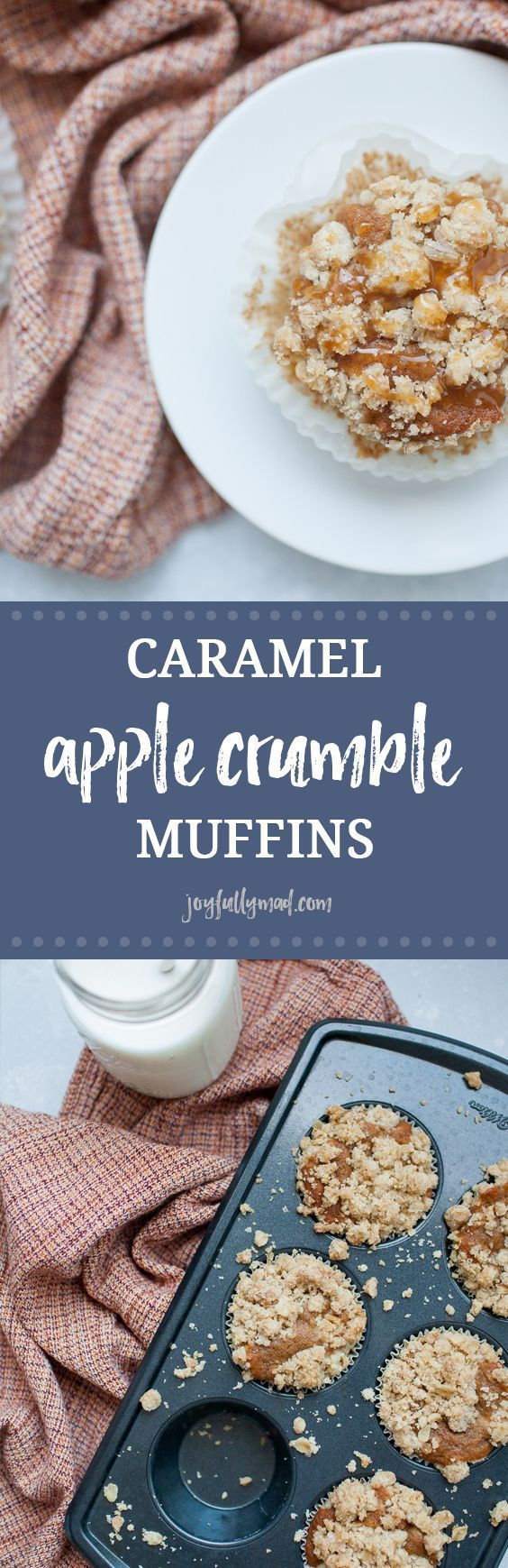 Caramel Apple Crumble Muffins Start your morning with Caramel Apple Crumble Muffins, the perfect morning treat! These apple spice muffins have a simple muffin base with fall spices like ginger, nutmeg and cinnamon added to it. Topped with the perfect crumble topping and caramel!