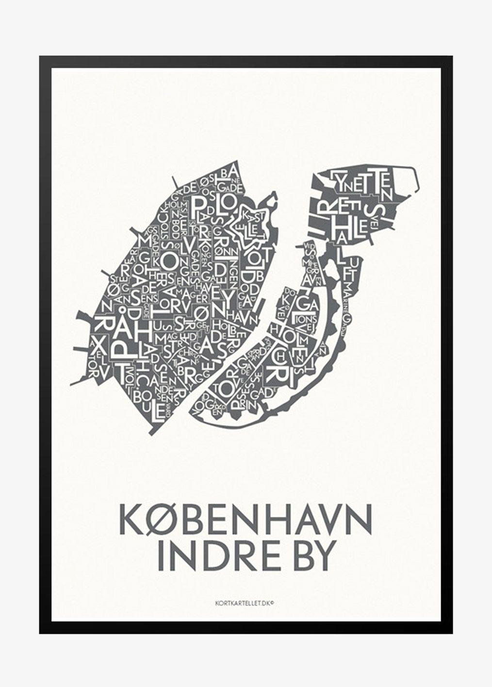 Moderne Og Cool Plakat Med Kort Over Det Indre Kobenhavn Plakat