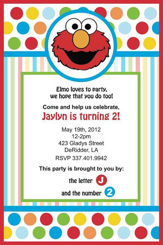 Elmo Birthday Invitation by YellowDeskDesigns on Etsy 1500