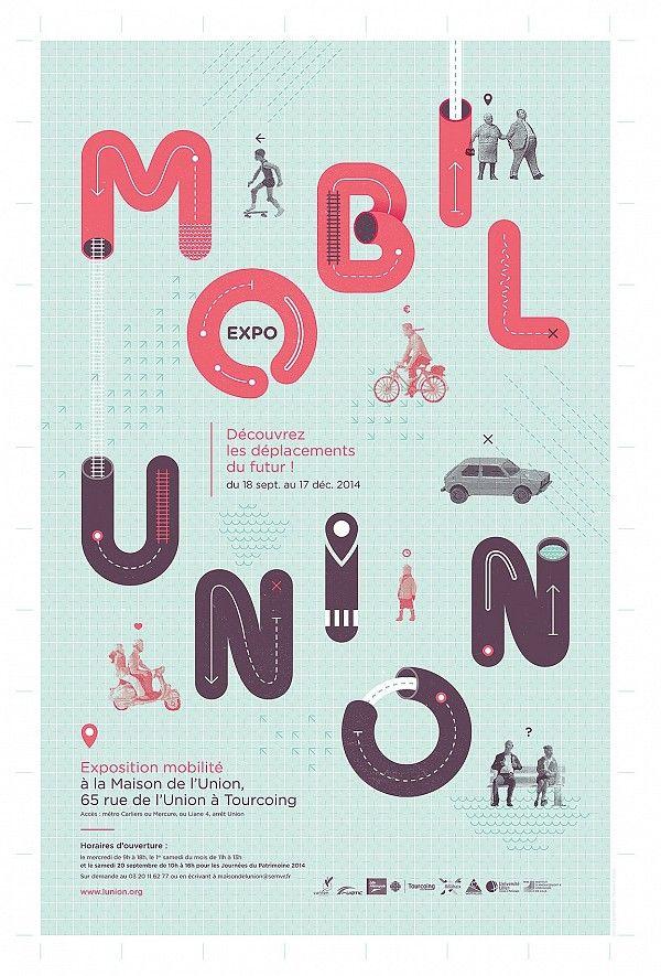 Affiche Exposition MobilUnion Graphic design Pinterest