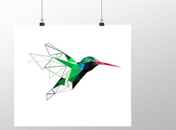 humminbird bird art geometric poster minimalist art green art modern design bird poster. Black Bedroom Furniture Sets. Home Design Ideas
