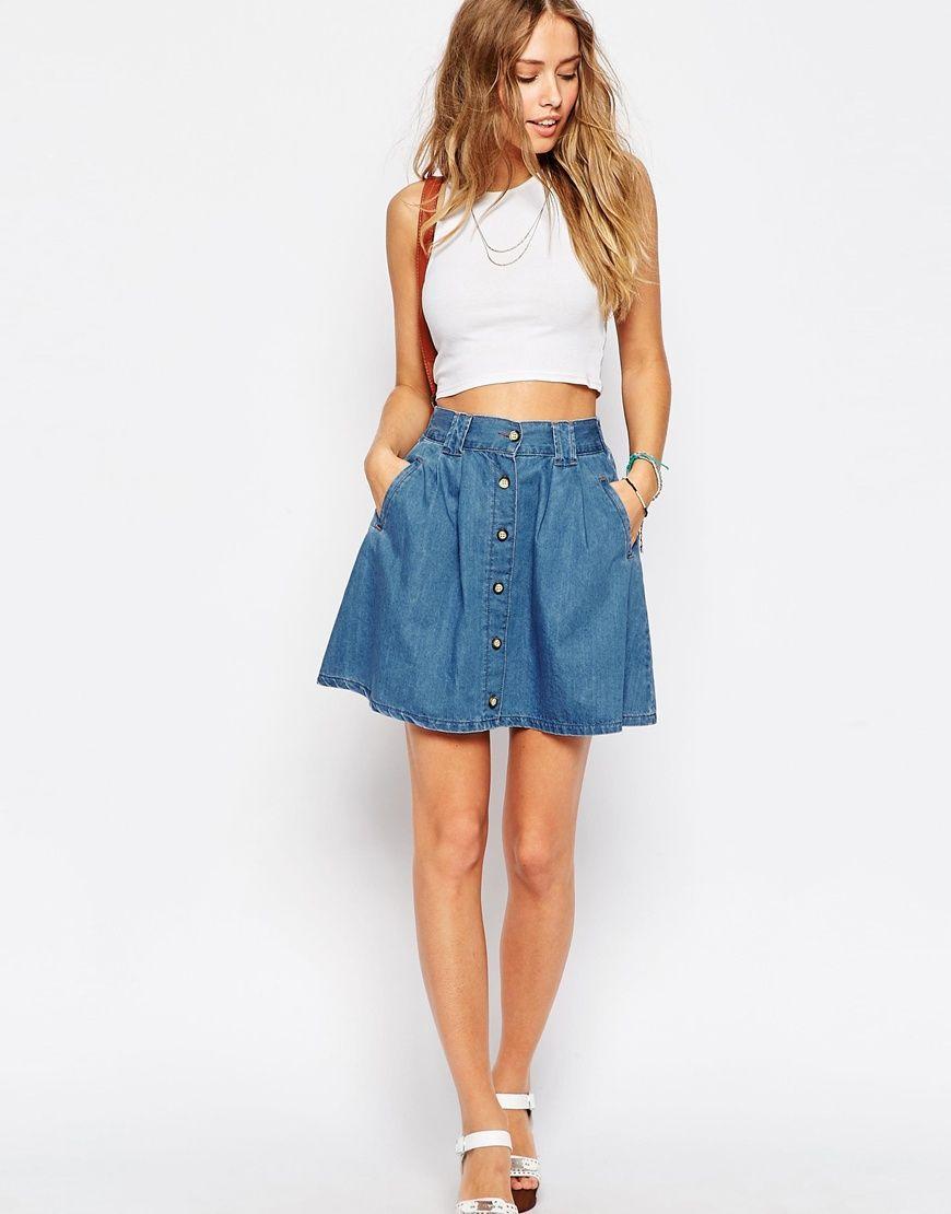 Image 1 of ASOS Denim Button Front Mini Skater Skirt In Mid Wash ...