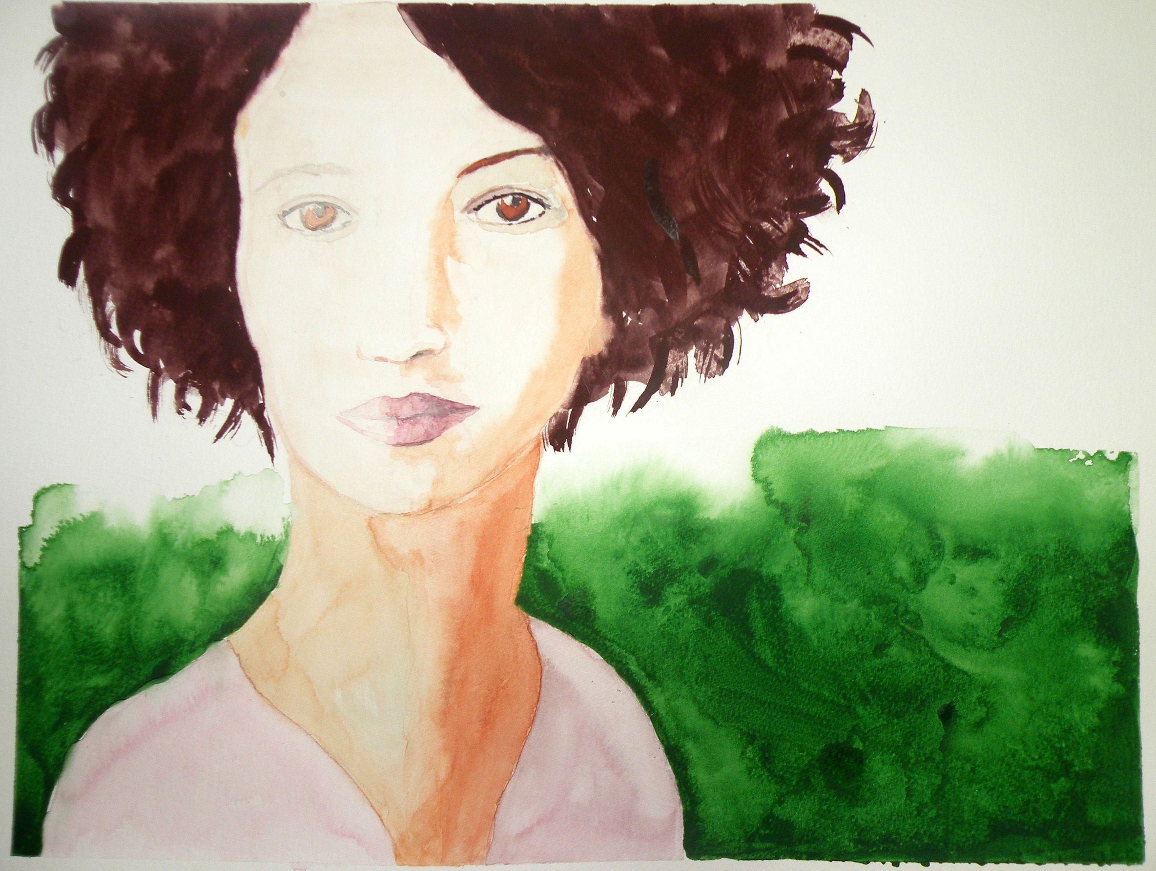 Aurora. Mujer con Fondo Verde.