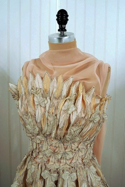 1960's Vintage Ruben Panis Couture Metallic-Leaves Strapless ...