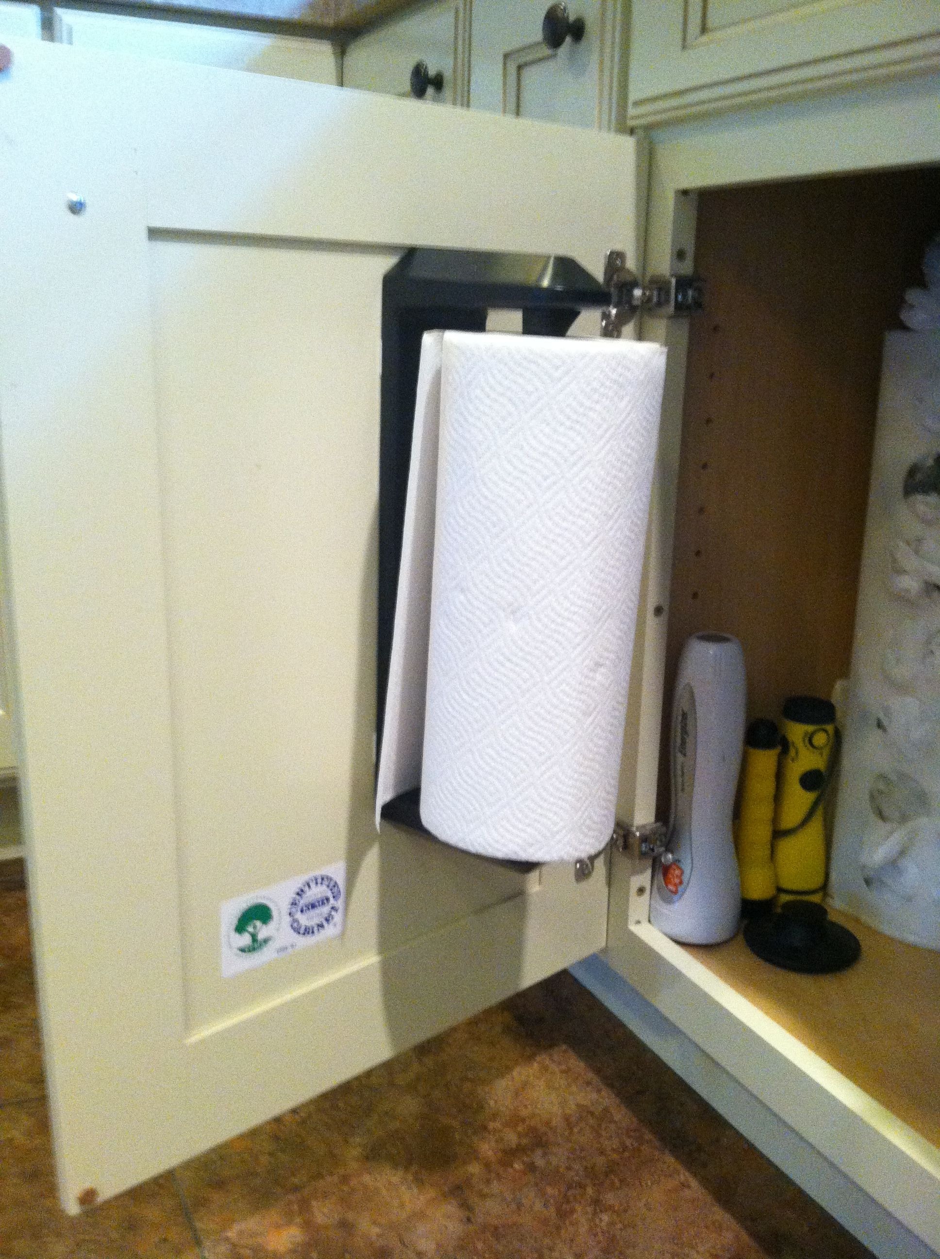 Hang Paper Towels Inside Cabinet With Command Strips Kitchen Paper Towel Paper Towel Holder Towel Holder