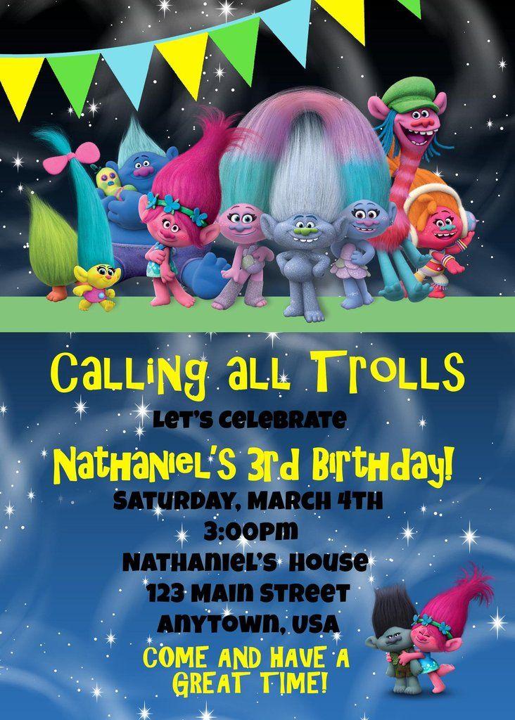 trolls birthday invitation birthday cakes cupcakes party ideas