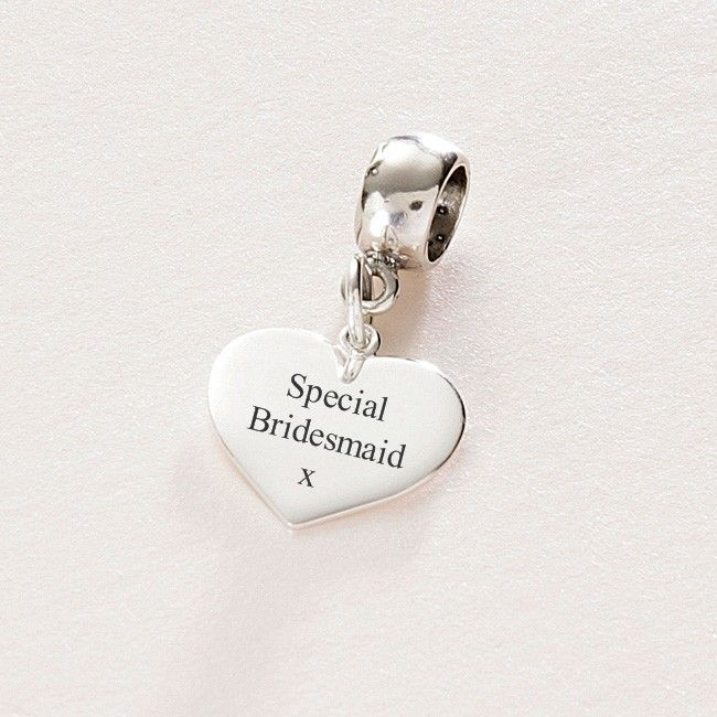 Special Bridesmaid sterling silver heart charm fits Pandora. #Bridesmaid # Personalised #Engraved #