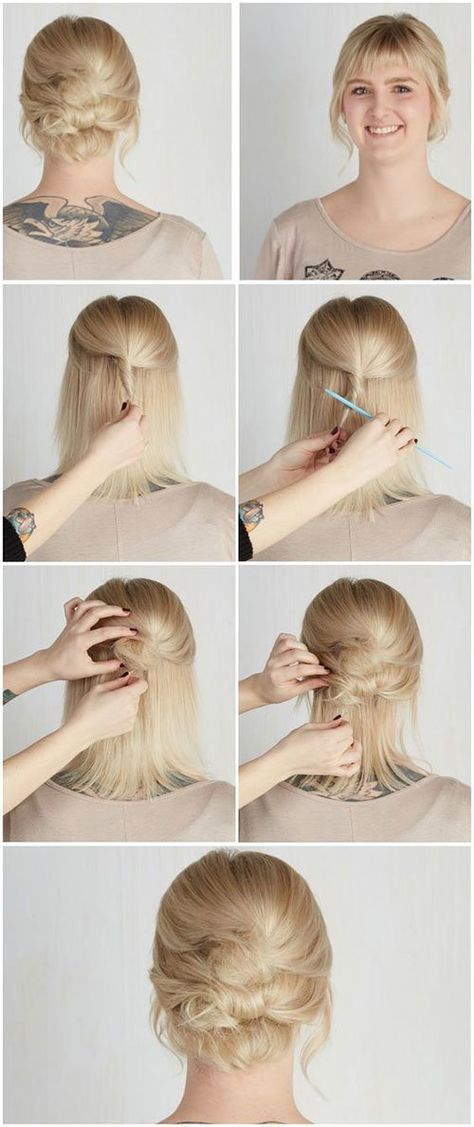 Short Hair Updos How To Style Bobs Lobs Tutorials Pinterest Double Buns Bun Updo And