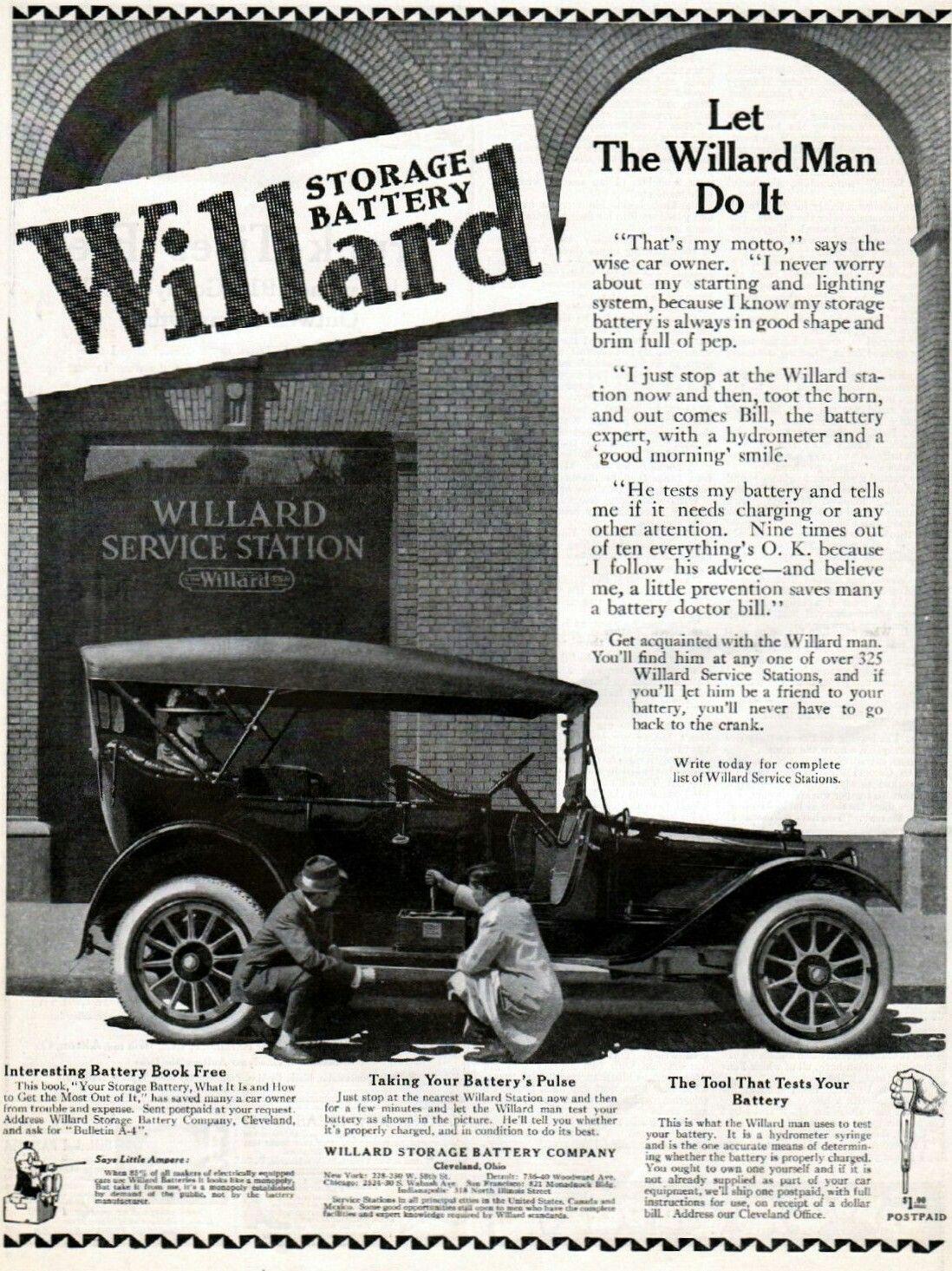 Willard Storage Battery Co 1915 Vintage Car Accessory Parts Ads