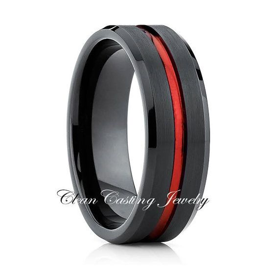 bf606353ded054 Red Tungsten Wedding Band By :Clean Casting Jewelry | New Tungsten ...