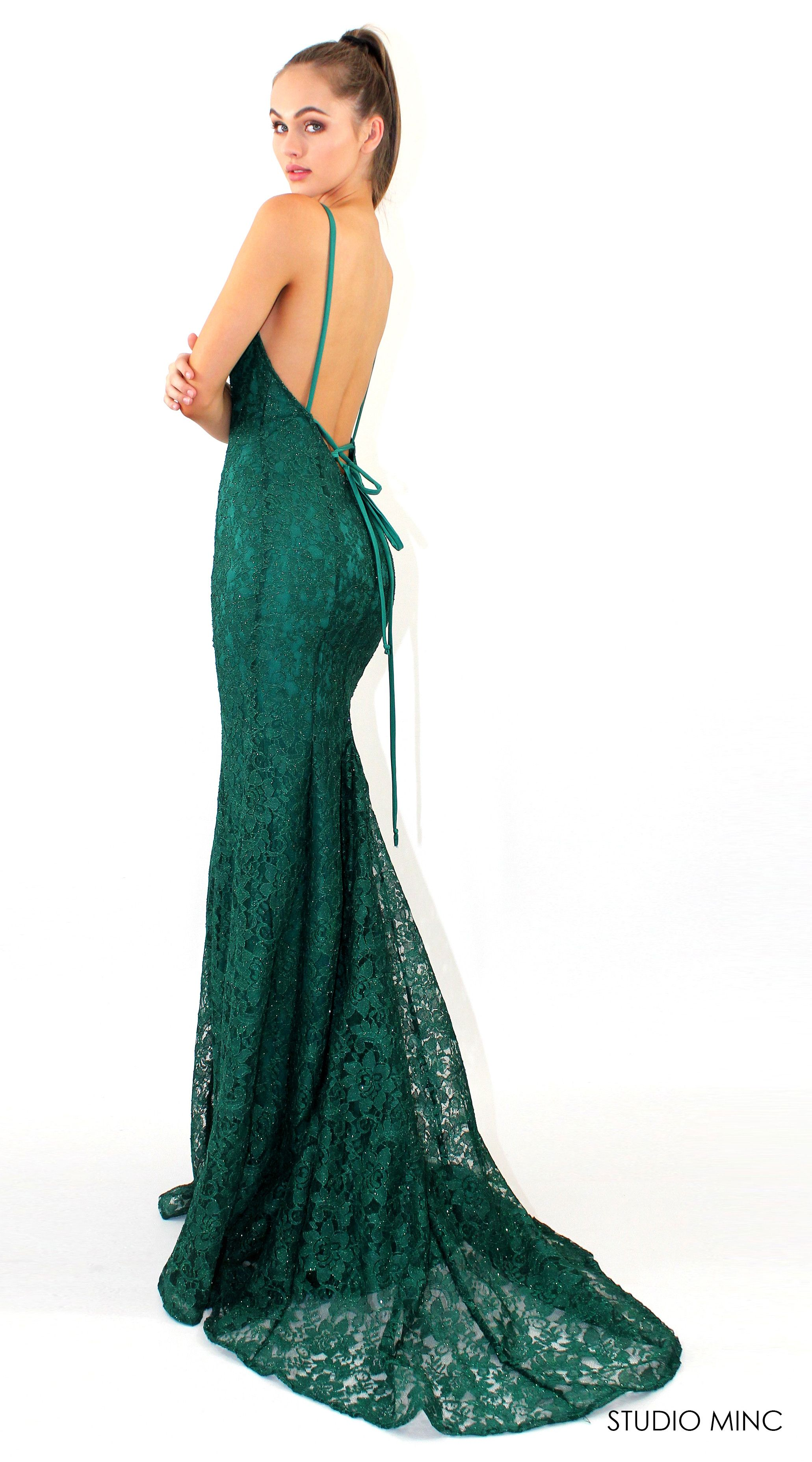 Emerald green mythical lace formal prom dress by studio minc