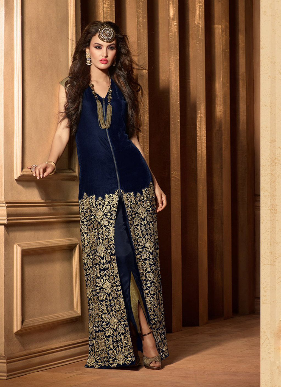 Navy Blue Velvet Pakistani Style Suit 61625  37fa42070