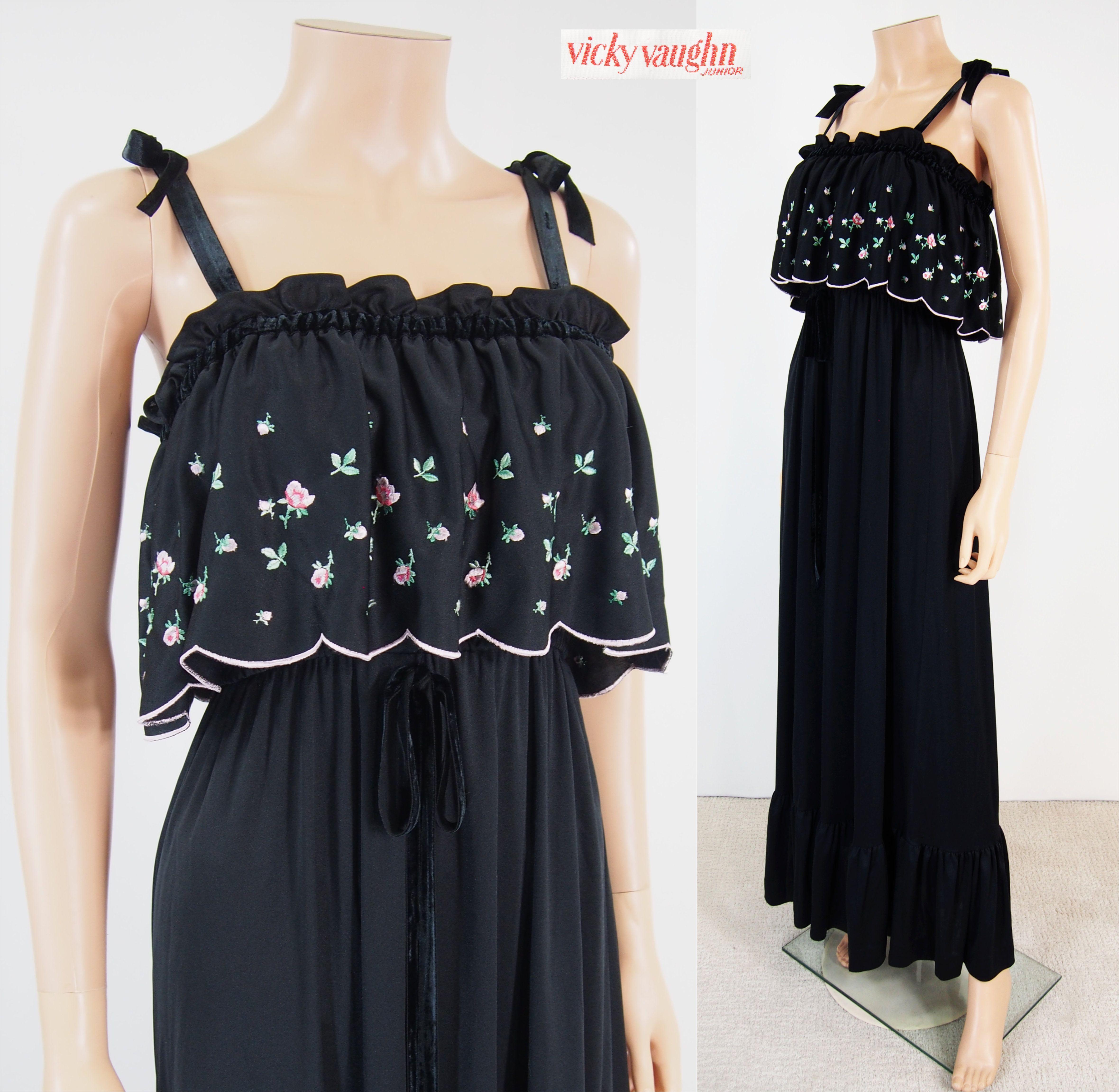 Vtg s vicky vaughn black pink embroidery velvet straps sundress