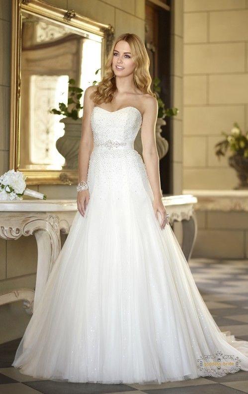 2014 New Style Custom Size A-Line Bead Tulle Princess Wedding Dress ...