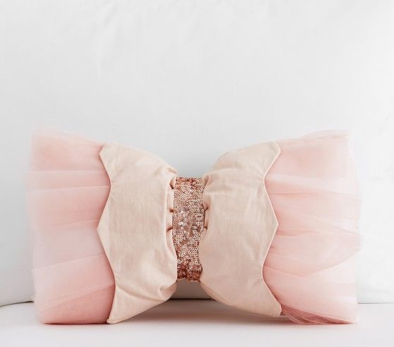 Velvet Cushion with Insert Kids Girl Teenage Sofa Princess Bow Soft Gift Pink
