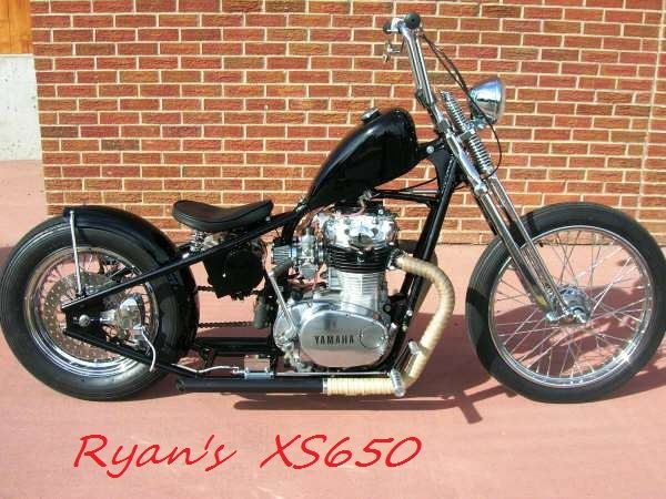 Yamaha XS650 and G&L chopper frame, with HDtype wheels