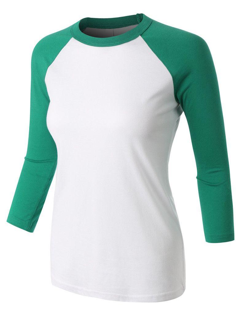 bb01b98ee8934 LE3NO PREMIUM Womens Classic 3 4 Contrast Raglan Sleeve Baseball Shirt