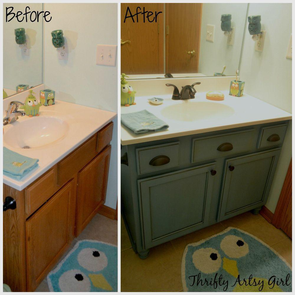 Builders Grade Teal Bathroom Vanity Upgrade For Only 60 Teal Bathroom Painted Vanity Bathroom Diy Bathroom Vanity