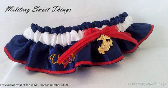 USMC Dress Blues Keepsake Garter By MilitarySweetThings