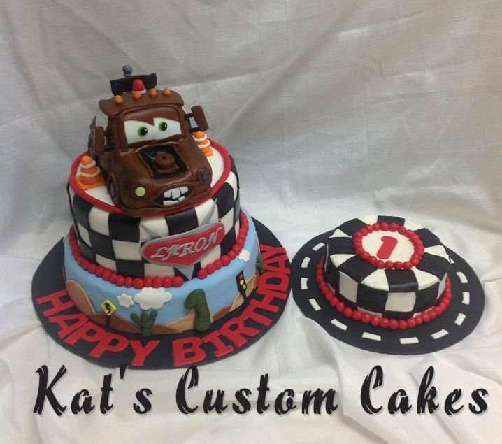 Disney Cars Tow Mater First Birthday Cake And Smash Cake