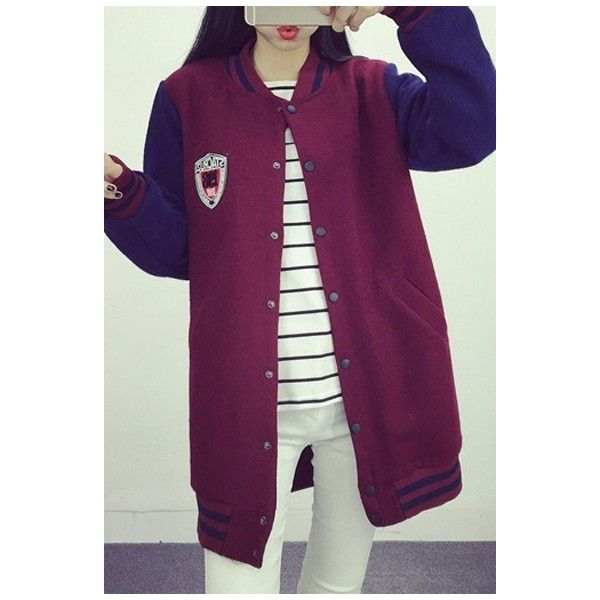 Stripe Trims Long Sleeve Color Block Jacket (66 BAM) via Polyvore featuring outerwear, jackets, purple jacket, long sleeve jacket, color block jacket i colorblock jacket